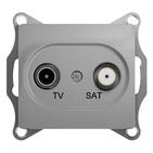 Розетка ТВ, TV-SAT 1 дБ одиночная/оконечная - алюминий, Schneider Glossa