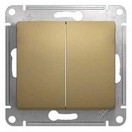 Выключатель двухклавишный в рамку, титан, Schneider Electric GLOSSA (GSL000451)