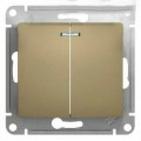 Выключатель 2 кл с подсветкой - титан, Schneider Glossa