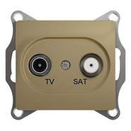 Розетка TV-SAT одиночная/оконечная, 1 дБ - титан, Schneider Glossa