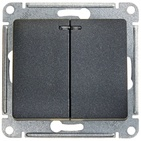 Выключатель 2 кл с подсветкой - антрацит, Schneider Glossa