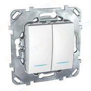 Выключатель двухклавишный белый с индикацией Schneider Electric/Unica MGU5.0101.18NZD