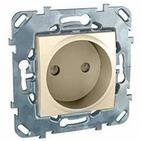 Розетка в рамку без заземления со шторками бежевая Schneider Electric/Unica MGU5.033.25ZD