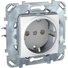 Розетка в рамку с заземлением со шторками белая Schneider Electric/Unica MGU5.037.18ZD
