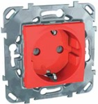 Розетка в рамку с заземлением со шторками красная Schneider Electric/Unica MGU5.037.03ZD