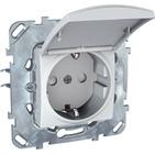 Розетка в рамку c заземлением со шторками с крышкой белая Schneider Electric/Unica MGU5.037.18TAZD