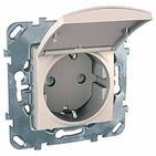 Розетка в рамку c заземлением со шторками с крышкой бежевая Schneider Electric/Unica MGU5.037.25TAZD