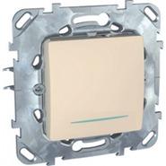 Переключатель одноклавишный с индикацией в рамку бежевый Schneider Electric/Unica MGU5.203.25NZD
