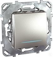 Выключатель 1-но клавишный с подсветкой - алюминий Unica Top MGU5.201.30NZD