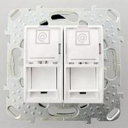 Розетка компьютерная 2хRJ45 в рамку белая Schneider Electric/Unica MGU5.2424.18ZD