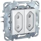 Розетка двойная в рамку без заземления со шторками 10А белая Schneider Electric/Unica MGU5.3131.18ZD