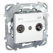 Розетка телевизионная R-TV/SAT проходная белаяSchneider Electric/Unica MGU5.456.18ZD