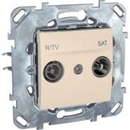 Розетка телевизионная R-TV/SAT проходная в рамку бежевая Schneider Electric/Unica MGU5.456.25ZD