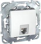 Розетка телефонная 1хRJ11 в рамку белая 4 контакта Schneider Electric/Unica MGU5.492.18ZD