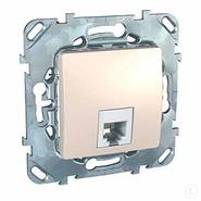 Розетка телефонная 1xRJ11, 4 контакта, бежевый, Schneider Electric UNICA (MGU5.492.25ZD)