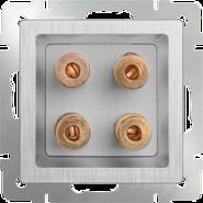 Акустическая розетка, WL09-AUDIOx4 - серебряный рифленый, Werkel