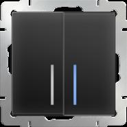 Выключатель 2 кл, с подсветкой, WL08-SW-2G-LED - черный матовый, Werkel