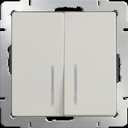 Выключатель проходной 2 кл, с подсветкой, WL03-SW-2G-2W-LED - слоновая кость, Werkel