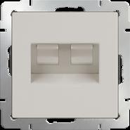 Розетка двойная компьютерная RJ-45, WL03-RJ45+RJ45 - слоновая кость, Werkel