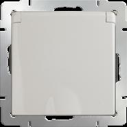 Розетка влагозащищенная с заземлением, крышкой, шторками, WL03-SKGSC-01-IP44 - слоновая кость, Werkel