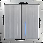 Выключатель 2 кл, с подсветкой WL02-SW-2G-LED - глянцевый никель, Werkel