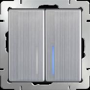 Выключатель проходной 2 кл, с подсветкой, WL02-SW-2G-2W-LED - глянцевый никель, Werkel