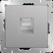 Розетка компьютерная RJ-45, WL09-RJ-45 - серебряный рифленый, Werkel
