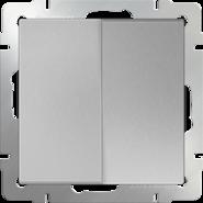 Выключатель проходной 2 кл, WL06-SW-2G-2W - серебряный, Werkel