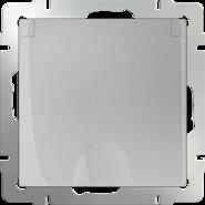 Розетка влагозащищеннная с заземлением, крышкой, шторками, WL06-SKGSC-01-IP44 - серебряный, Werkel