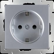 Розетка с заземлением, шторками, WL06-SKGS-01-IP44 - серебряный, Werkel