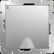 Розетка влагозащищенная с заземлением, крышкой, шторками, WL09-SKGSC-01-IP44 - серебряный рифленый, Werkel