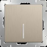 Выключатель 1 кл, с подсветкой, WL10-SW-1G-LED - шампань рифленый, Werkel