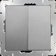 Выключатель 2 кл, WL09-SW-2G - серебряный рифленый, Werkel