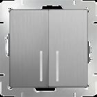 Выключатель 2 кл, с подсветкой, WL09-SW-2G-LED - серебряный рифленый, Werkel