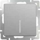 Выключатель 1 кл, с подсветкой, WL09-SW-1G-LED - серебряный рифленый, Werkel
