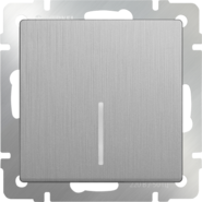 Выключатель проходной 1 кл, с подсветкой, WL09-SW-1G-2W-LED - серебряный рифленый, Werkel