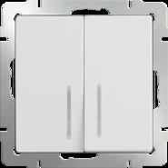 Выключатель проходной 2 кл, с подсветкой WL01-SW-2G-2W-LED - белый, Werkel