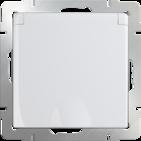 Розетка влагозащищенная с заземлением, шторками, крышкой, WL01-SKGSC-01-IP44 - белый, Werkel