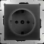 Розетка с заземлением, WL08-SKG-01-IP20 - черный матовый, Werkel
