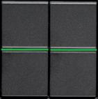 Выключатель 2 кл с подсветкой - антрацит, ABB Zenit (2 х N2101 AN + 2 х N2191 VD)