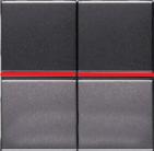 Переключатель проходной 2 кл, с красной подсветкой - антрацит, ABB Zenit (2 х N2102 AN + 2 х N2192 RJ)