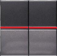 Переключатель двухклавишный с красной подсветкой ABB Zenit антрацит (2 х N2102 AN + 2 х N2192 RJ)