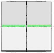 Выключатель 2 кл с зеленой подсветкой - альпийский белый, ABB Zenit (N2101 BL + N2191 VD)