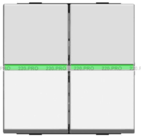 Выключатель 2 кл с зеленой подсветкой - серебро, ABB Zenit (2 х N2101 PL +2х N2191 VD)