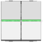Выключатель двухклавишный 16А с зеленой подсветкой ABB Zenit серебро (2 х N2101 PL +2х N2191 VD)