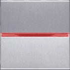 Переключатель одноклавишный 16А с красной подсветкой ABB Zenit серебро