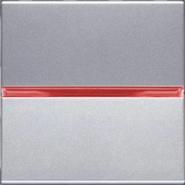 Переключатель проходной 1 кл, с красной подсветкой - серебро, ABB Zenit (N2202 PL + N2192 RJ)