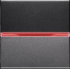 Переключатель проходной 1 кл, с красной подсветкой - антрацит, ABB Zenit (N2202 AN + N2192 RJ)