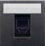 Розетка компьютерная 8 контактов одноместная, категория 6UTP ABB Zenit антрацит (2018.6 + N2218.1 AN)