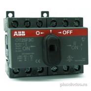 Реверсивный рубильник 16А, 3-полюсный для установки на DIN-рейку или монтажную плату (с резерв. ручкой), ABB OT16F3C